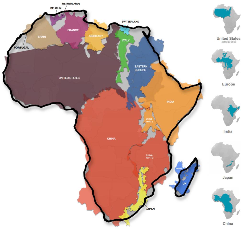 Cartina Geografica Italia Africa.Le Vere Dimensioni Dell Africa Un Continente Da Esplorare Michele Riderelli